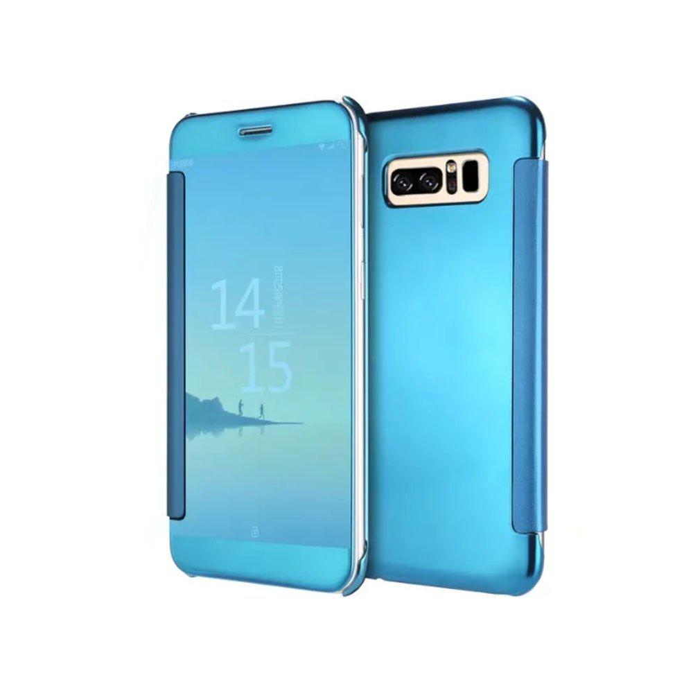 Cas de Clamshel intelligent de dormance de support de miroir de placage Triad pour Samsung Note 8 - Bleu