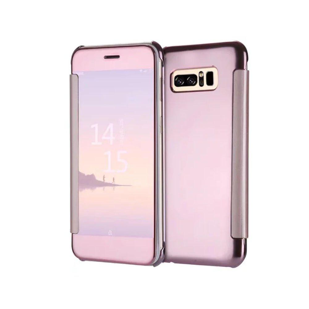 Plating Mirror Bracket Triad Intelligent Dormancy Clamshel Case for Samsung Note 8 - PINK