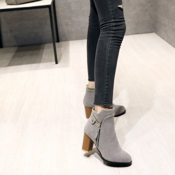 Fashion Studs Buckle Strap Chunky Heel Ankle Boots - GRAY 37