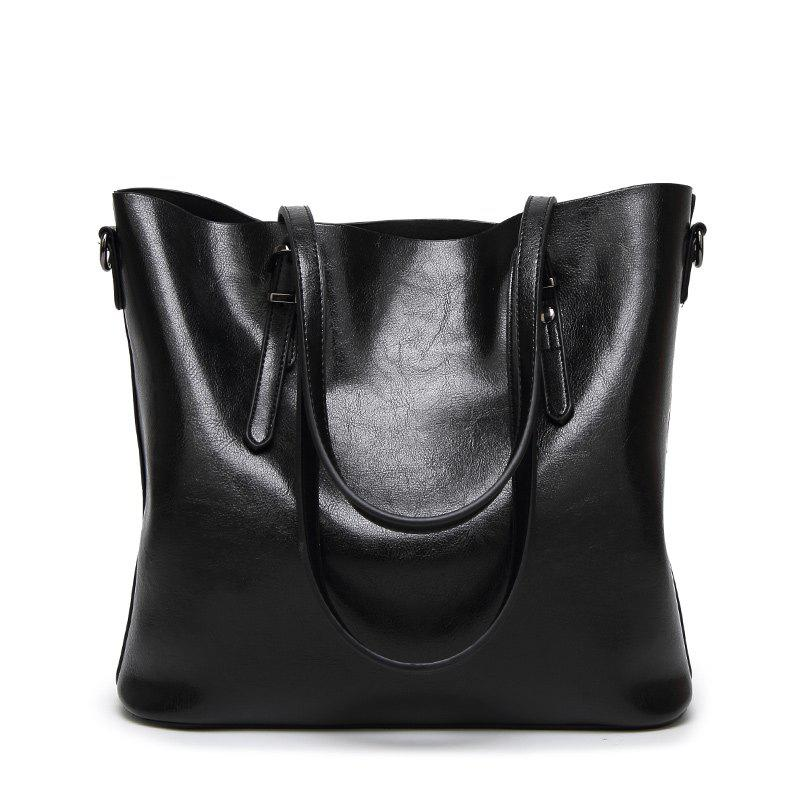 Ladies Retro Waxed Leather Tote Handbag - BLACK