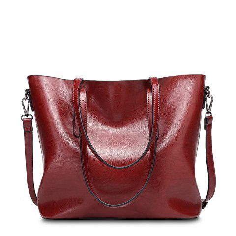 Ladies Fashion Oil Wax Cowhide Tote Handbag - WINE RED