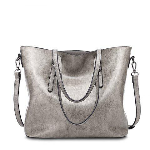 Ladies Fashion Oil Wax Cowhide Tote Handbag - GRAY