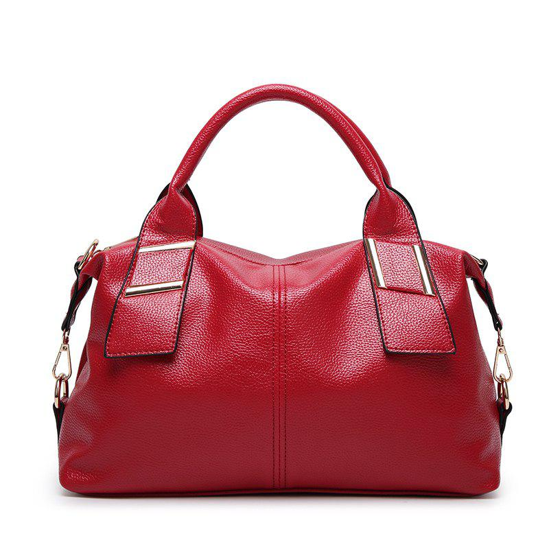 Ladies Fashion Wild Boston Handbag - RED