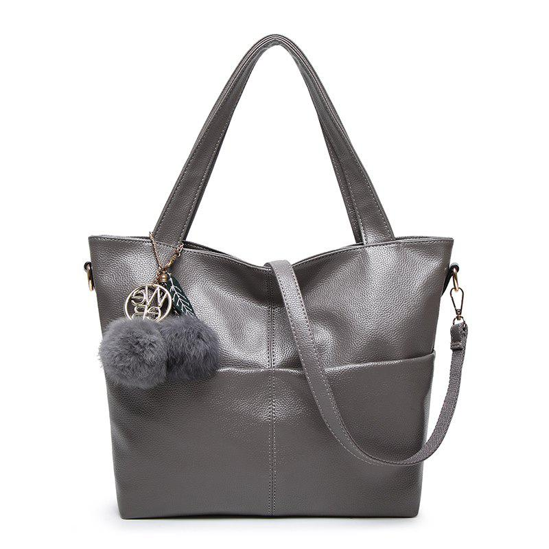 Ladies Casual Simple Hairball Handbag - GRAY