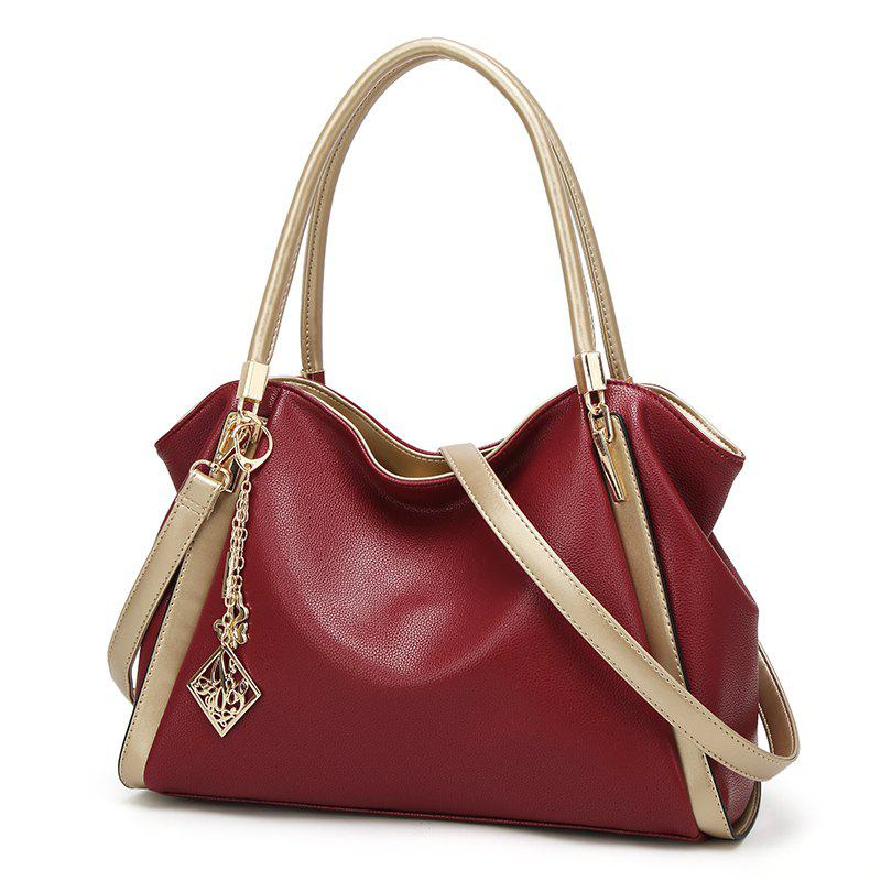 Ladies Casual Simple Lychee Pattern Handbag - RED