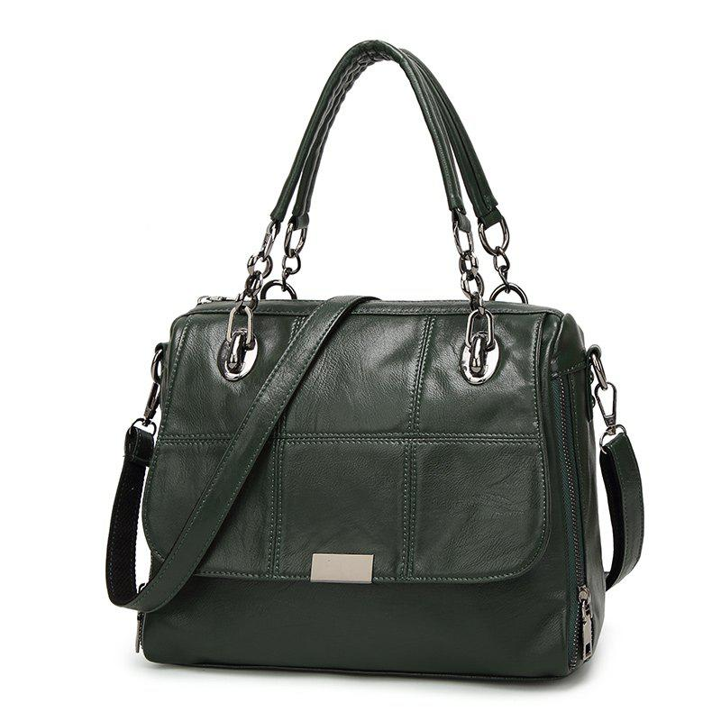 Ladies Fashion Quilted Geometric Pattern Handbag - DARK GREEN