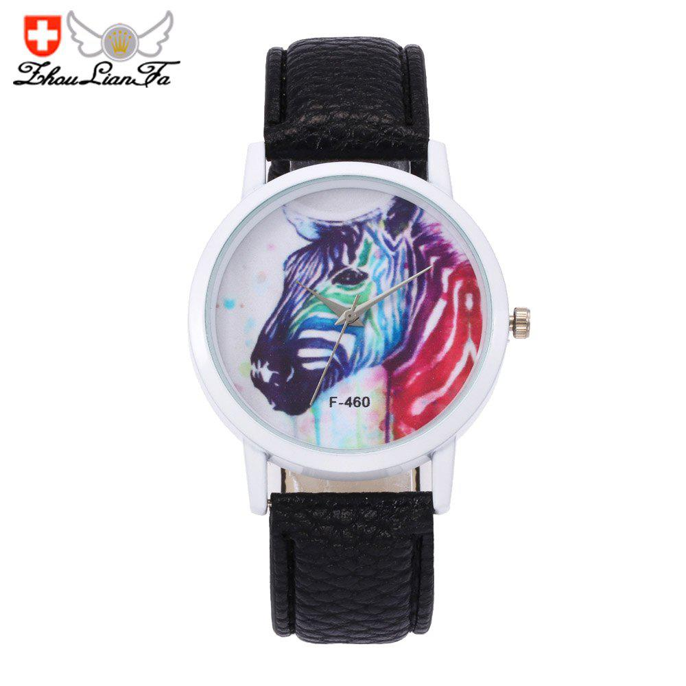 zhoulianfa new christmas deer pattern lady print belt watch black - Watch Black Christmas