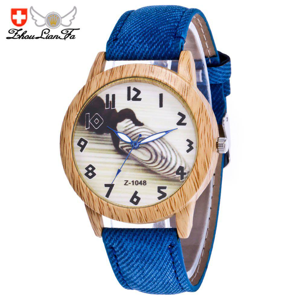 ZhouLianFa Fashion Trendy Denim Canvas Classic Digital Quartz Watch - BLUE