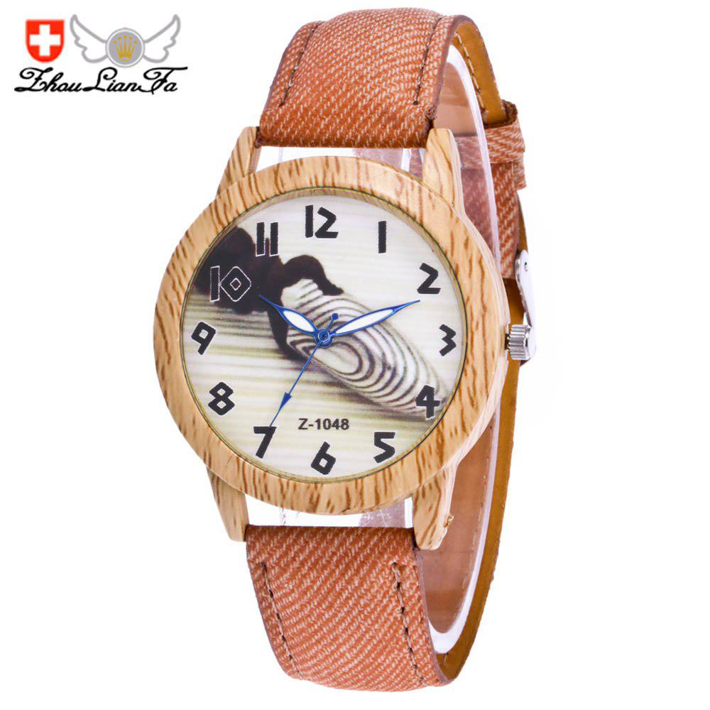ZhouLianFa Fashion Trendy Denim Canvas Classic Digital Quartz Watch - LIGHT COFFEE