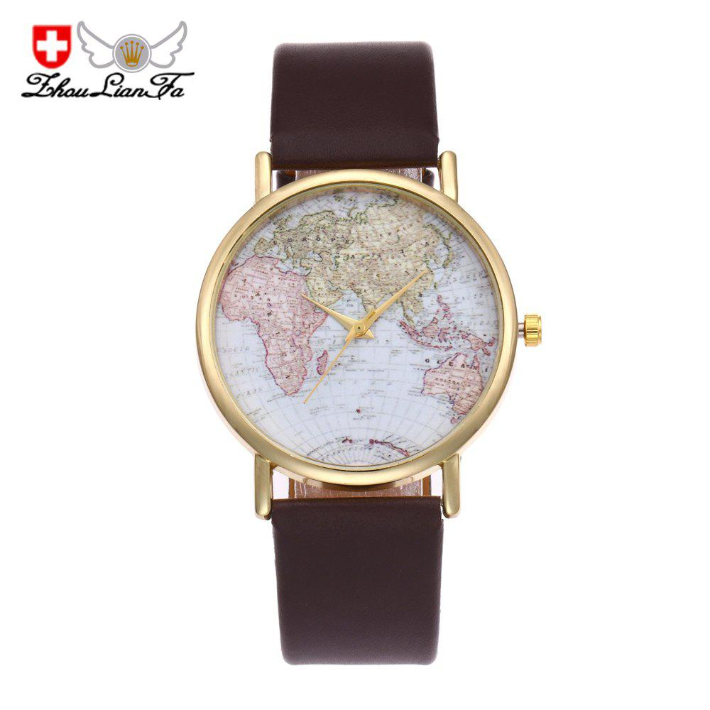 ZhouLianfa Fashion Airplane Map Casual Canvas Movement Neutral Quartz Watch - COFFEE