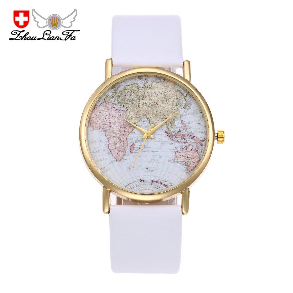 ZhouLianFa Fashion Aircraft Map Casual Leather Fashion Trendy Sporty Neutral Quartz Watch - WHITE