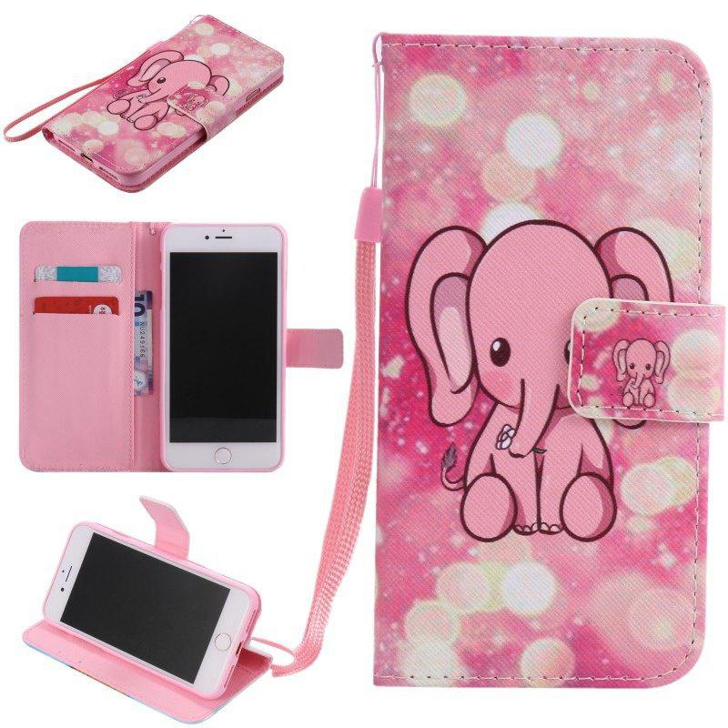 Fashion Pink Elephant Painted Pattern Flip PU Leather Wallet Style Protective Phone Case for iPhone 7 / 7 Plus / 5 / 5S lorways 016 stylish check pattern long style pu leather men s wallet blue coffee