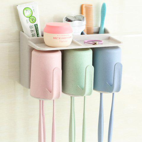 Bathroom Accessories Suction Cup Toothbrush Toothpaste Tooth Mug Holder - multicolor 3 CUPS