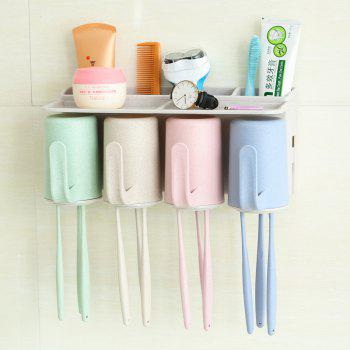 Bathroom Accessories Suction Cup Toothbrush Toothpaste Tooth Mug Holder - multicolor 4 CUPS