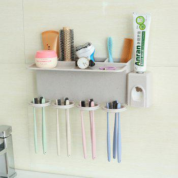 Bathroom Accessories Suction Cup Toothbrush Toothpaste Tooth Mug Holder - multicolor 4 CUPS + PRESSED TEETH