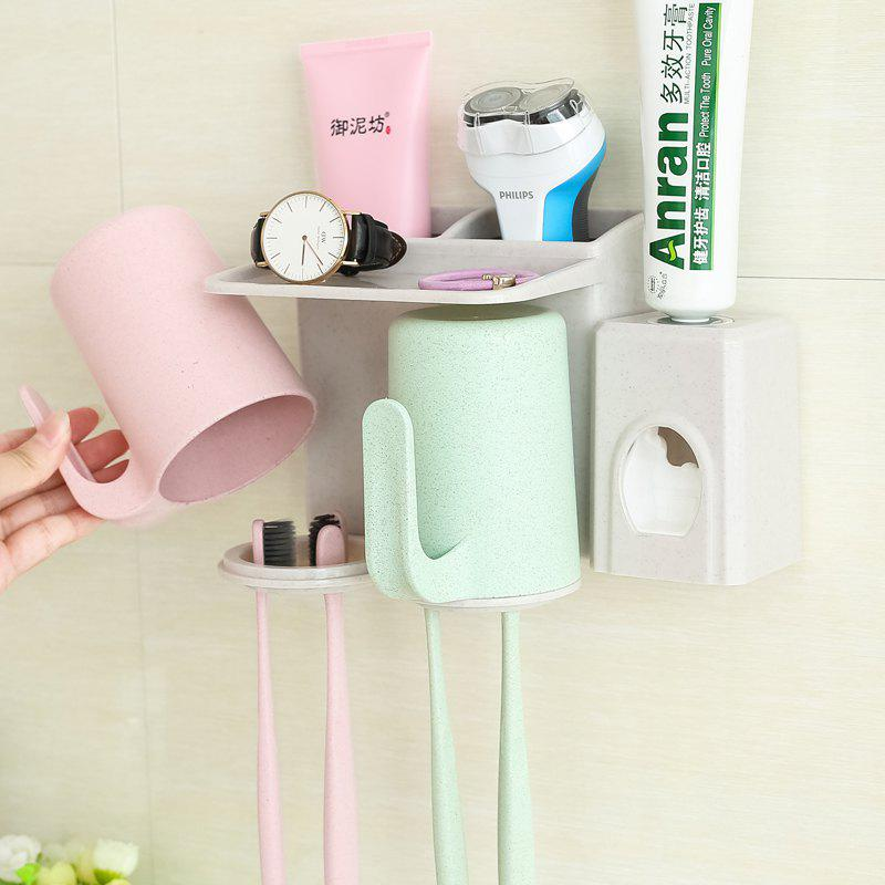 Bathroom Accessories Suction Cup Toothbrush Toothpaste Tooth Mug Holder - multicolor 2 CUPS + PRESSED TEETH