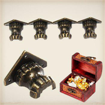 4PCS Zinc Alloy Retro Antique Brass Jewelry Chest Wood Box Decorative Feet Leg Corner Protector 35 x 25mm - BRONZED 35MM X 25MM