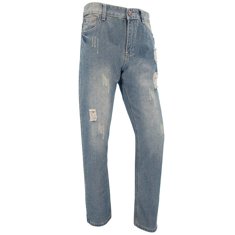 Mens Casual European and American Fashion Trends Slim Straight Jeans Trousers european style 2016 new fashion jeans men print flowers slim trousers casual straight brand design skinny pants hot sales 0245