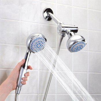 Shower Head Double Head Shower Head Multifunctional 3-WAY 2-IN-1 Dual Shower Heads Stainless Steel System Shower Wall Mo - SILVERY SILVERY