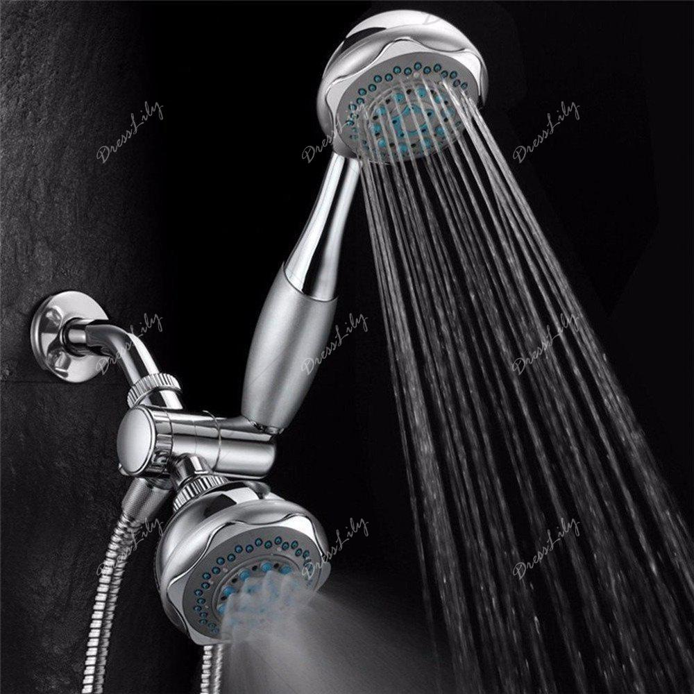 Shower Head Double Head Shower Head Multifunctional 3-WAY 2-IN-1 Dual Shower Heads Stainless Steel System Shower Wall Mo - SILVERY
