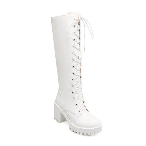 Miss Shoes 88-7 Casual Thick and Heavy Base with Knighthood - WHITE 35