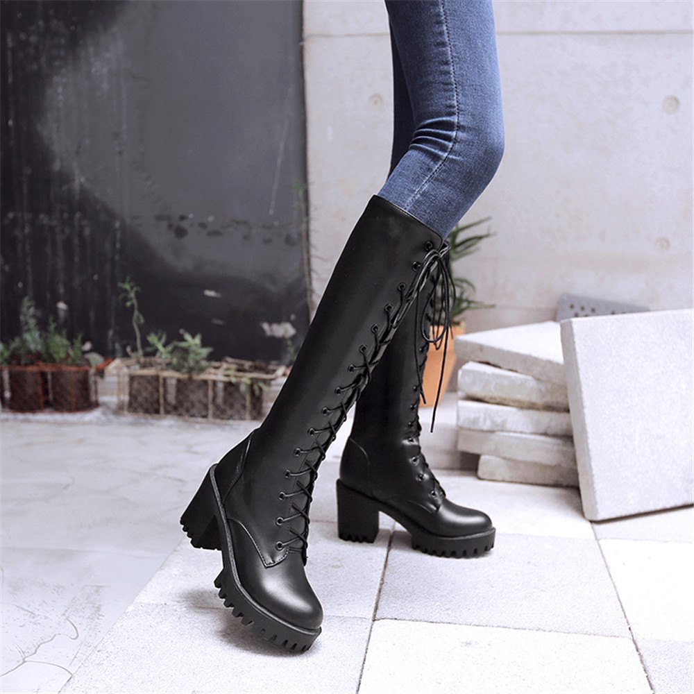 Miss Shoes 88-7 Casual Thick and Heavy Base with Knighthood - BLACK 34