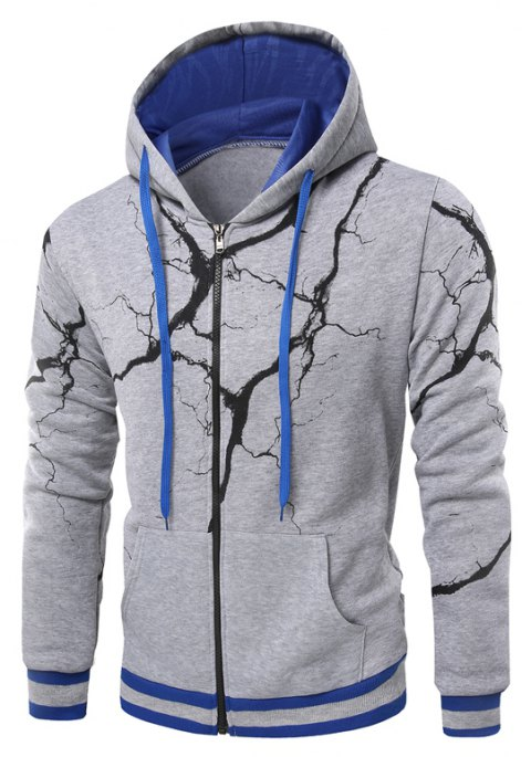 Fashion Casual Hoodies Men'S Lightning Hoodie Men - LIGHT GRAY XL