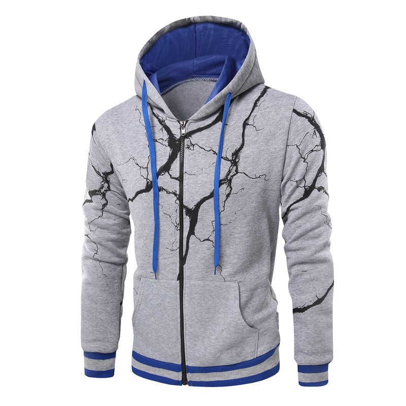 Fashion Casual Hoodies Men'S Lightning Hoodie Men - LIGHT GRAY 3XL