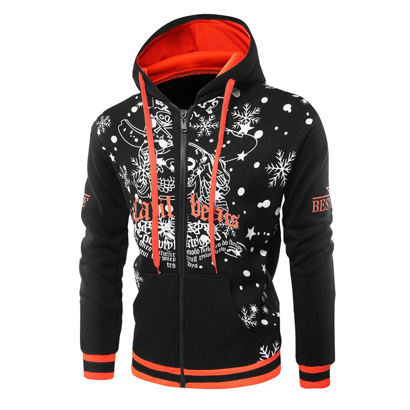 Fashion Color Printing Christmas Hoodie - BLACK XL