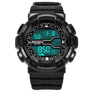 Men Large Dial Waterproof Personalized Electronic Fashion Outdoor Sports Watches - BLACK WHITE BLACK WHITE