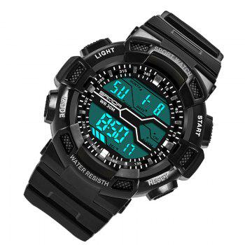 Men Large Dial Waterproof Personalized Electronic Fashion Outdoor Sports Watches - BLACK WHITE