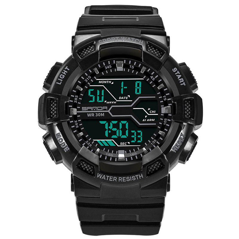 Men Large Dial Waterproof Personalized Electronic Fashion Outdoor Sports Watches - BLACK