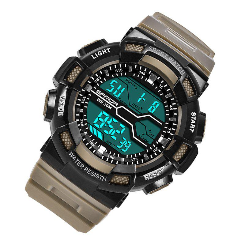 Men Large Dial Waterproof Personalized Electronic Fashion Outdoor Sports Watches - KHAKI