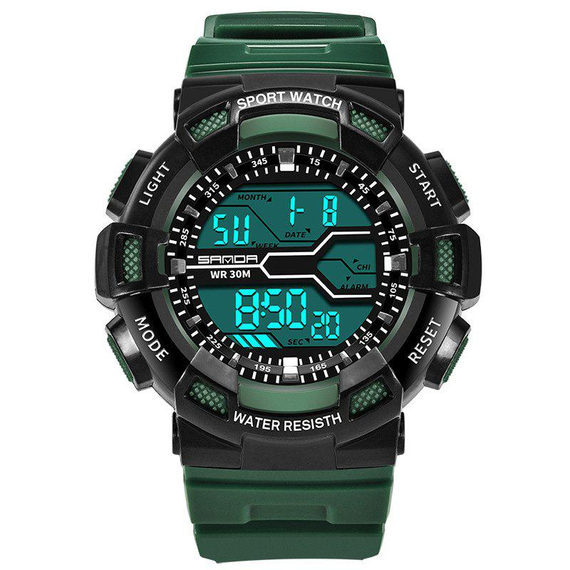 Men Large Dial Waterproof Personalized Electronic Fashion Outdoor Sports Watches - ARMYGREEN