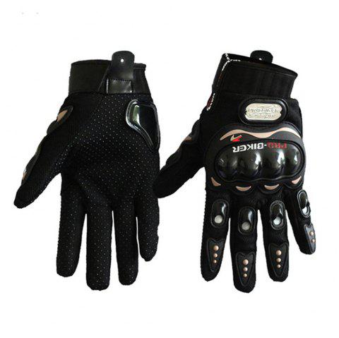 Fashion Motorcycle Glove Outdoor Sports Full Finger Knight Riding Motorbike Breathable Mesh Fabric - BLACK L