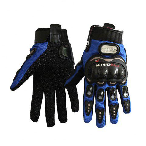 Fashion Motorcycle Glove Outdoor Sports Full Finger Knight Riding Motorbike Breathable Mesh Fabric - BLUE L