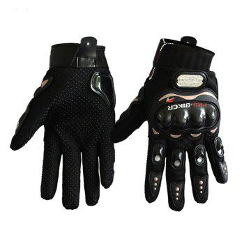 Fashion Motorcycle Glove Outdoor Sports Full Finger Knight Riding Motorbike Breathable Mesh Fabric - BLACK BLACK