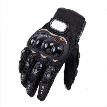 Fashion Motorcycle Glove Outdoor Sports Full Finger Knight Riding Motorbike Breathable Mesh Fabric - BLACK XL