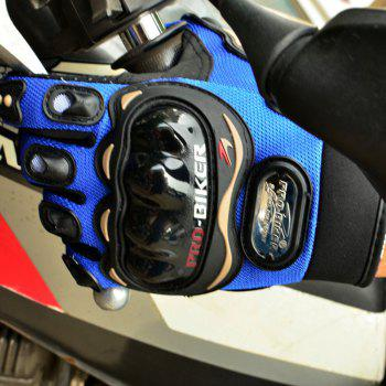 Fashion Motorcycle Glove Outdoor Sports Full Finger Knight Riding Motorbike Breathable Mesh Fabric - BLUE BLUE