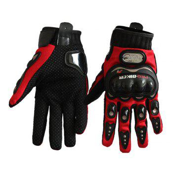 Fashion Motorcycle Glove Outdoor Sports Full Finger Knight Riding Motorbike Breathable Mesh Fabric - RED RED
