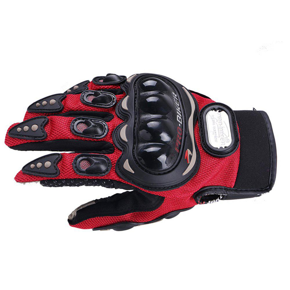 Fashion Motorcycle Glove Outdoor Sports Full Finger Knight Riding Motorbike Breathable Mesh Fabric - RED L