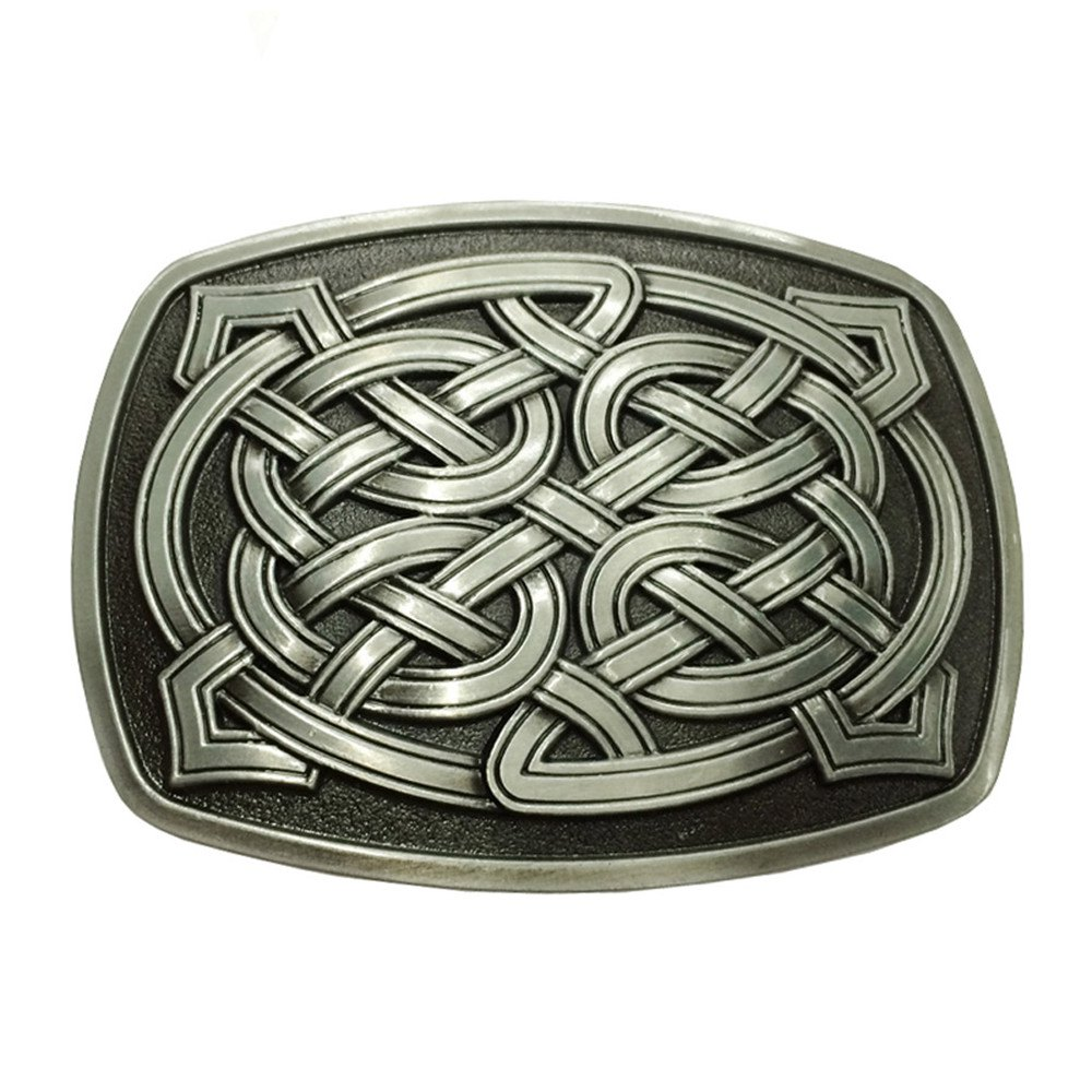 Celtic Pattern Belt Buckle - BLACK LEATHER BAND