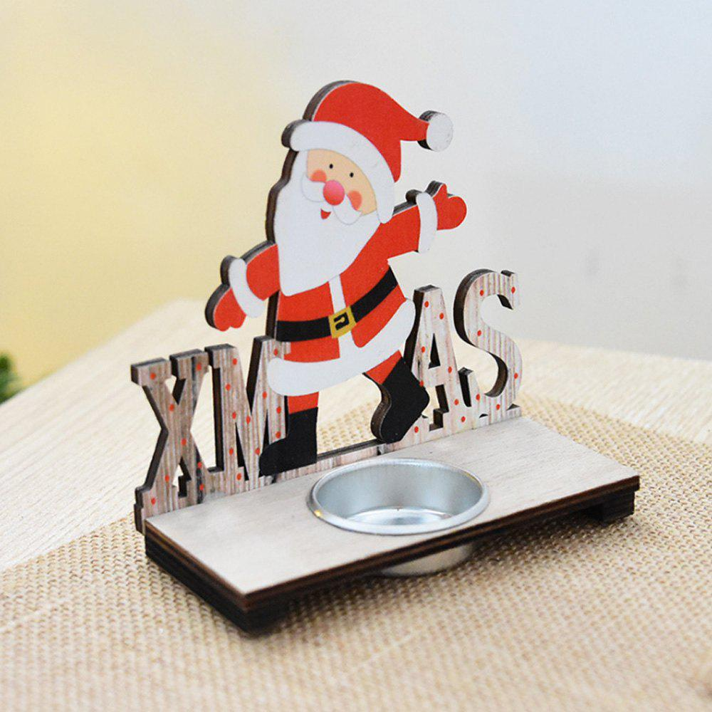 Wooden Santa Claus Decorate The Christmas Candlestick - COLORFUL