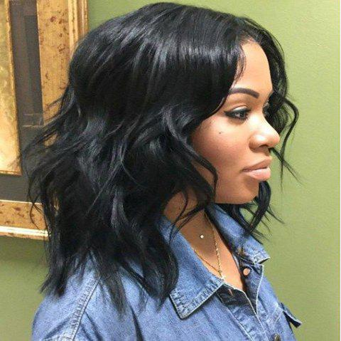 130% Short Bob Wigs Glueless Lace Front Wigs for Black Women - NATURAL BLACK 12INCH