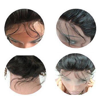 Brazilian Virgin Hair Wig Body Wave Lace Front Wigs Middle Part Natural Hairline Glueless Lace Front Wig for Black Women - NATURAL BLACK 20INCH