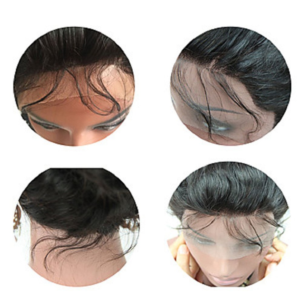 Brazilian Virgin Hair Wig Body Wave Lace Front Wigs Middle Part Natural Hairline Glueless Lace Front Wig for Black Women - NATURAL BLACK 14INCH
