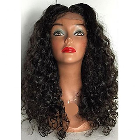 Peruvian Human Hair Lace Wig Deep Curly Lace Front Wig Middle Part Glueless Lace Front Wig for Black Women - NATURAL BLACK 8INCH