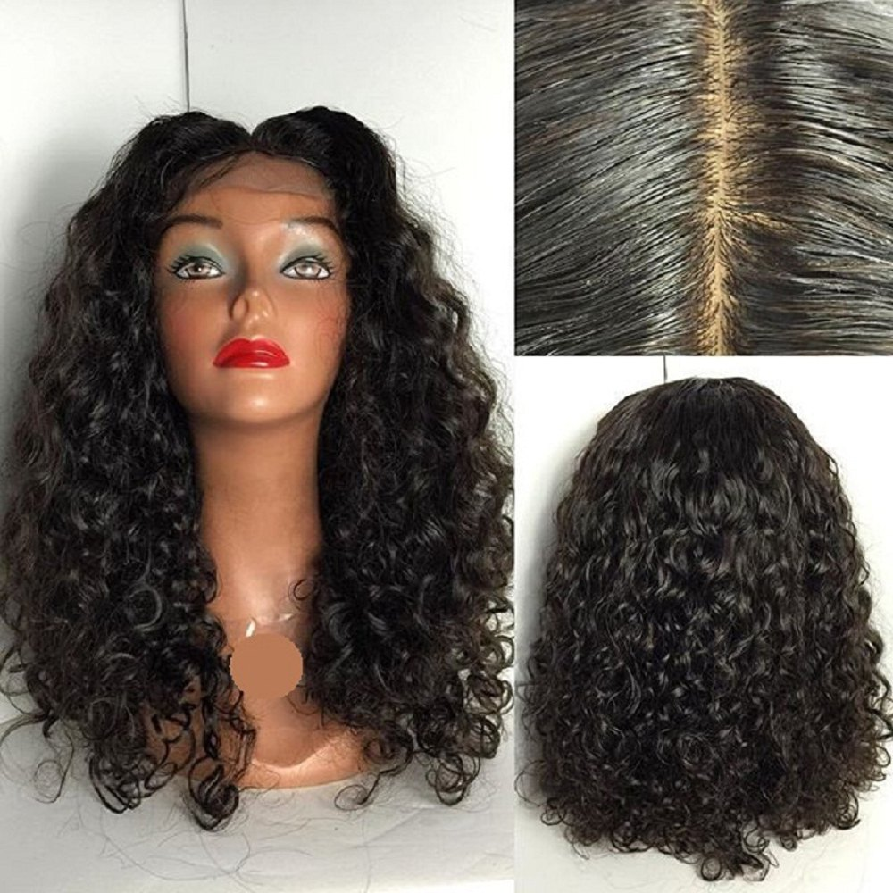 Peruvian Human Hair Lace Wig Deep Curly Lace Front Wig Middle Part Glueless Lace Front Wig for Black Women - NATURAL BLACK 12INCH