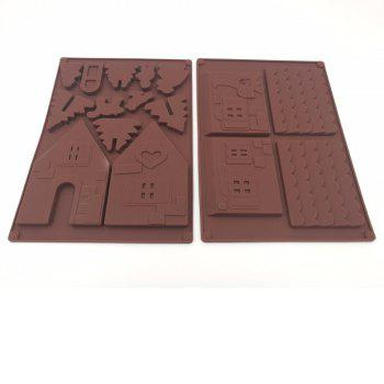 Christmas House Set Silicone Chocolate Candy Cake Biscuits Cake Baking Cooking Fondant Decoration Mould Random Color 2PCS - COFFEE