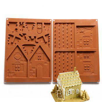 Christmas House Set Silicone Chocolate Candy Cake Biscuits Cake Baking Cooking Fondant Decoration Mould Random Color 2PCS